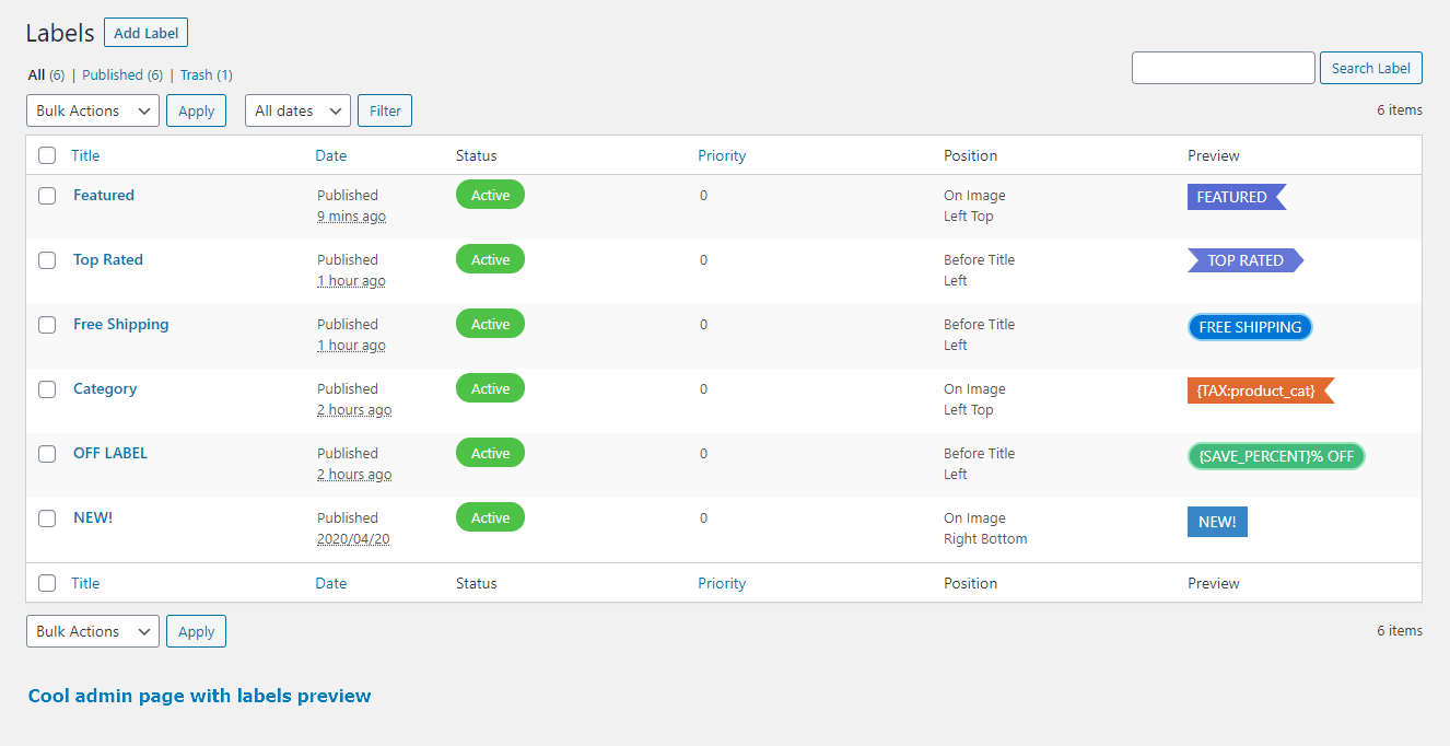 Admin labels page