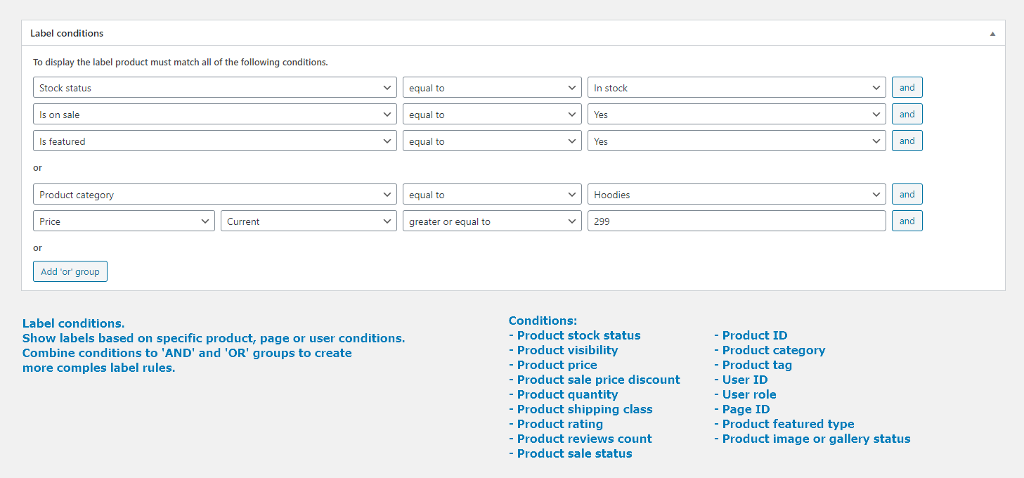 Labels conditions. Admin page