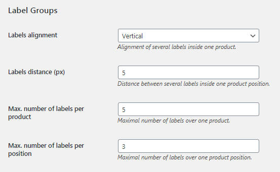 Labels groups settings