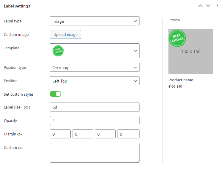Image label type options