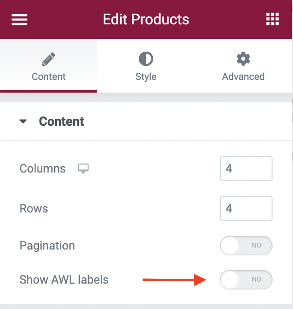 'Show AWL labels' option