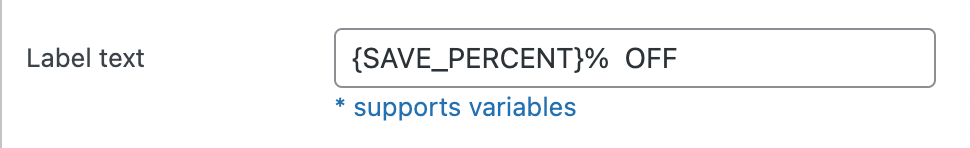 Text variable for discount percentage